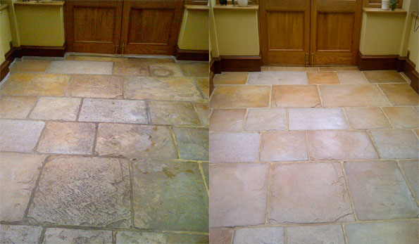 flagstone floor cleaning