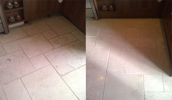 Tumbled travertine floor cleaning